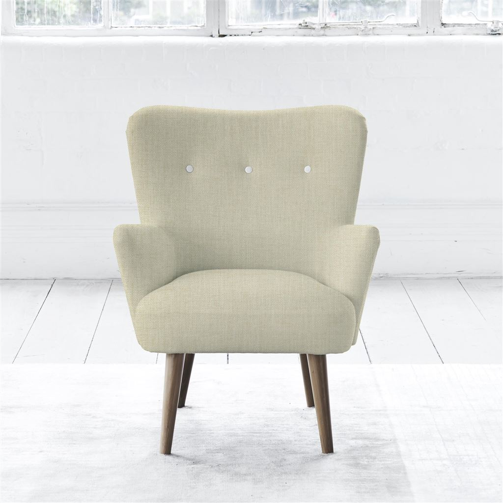 FLORENCE CHAIR - WHITE BUTTONS - WALNUT LEG - ELRICK NATURAL