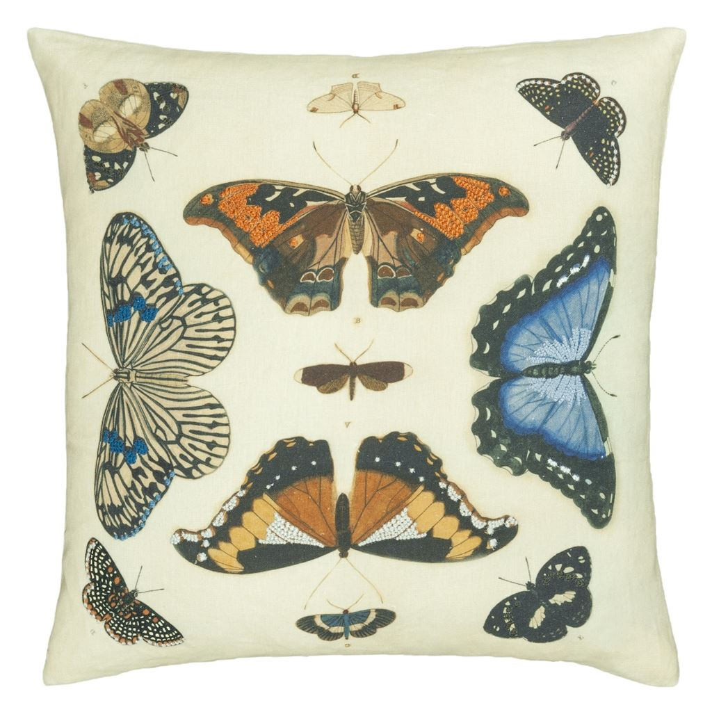 MIRRORED BUTTERFLIES PARCHMENT CUSHION 50X50CM
