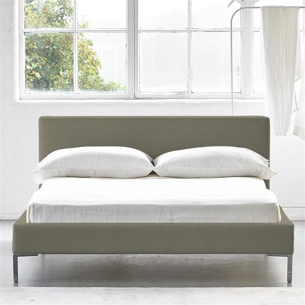 SQUARE BED LOW - SINGLE - METAL LEG ROTHESAY - LINEN