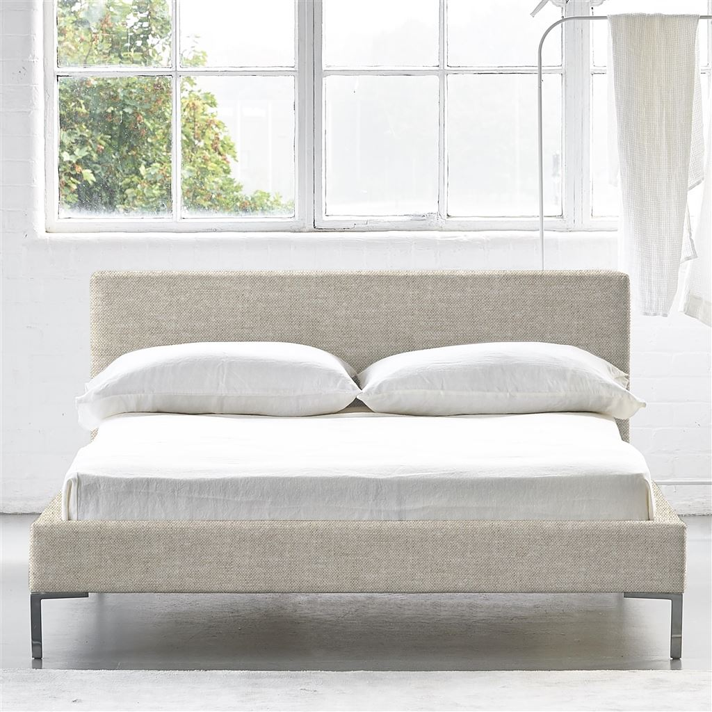 SQUARE BED LOW - SINGLE - METAL LEG CONWAY - LINEN