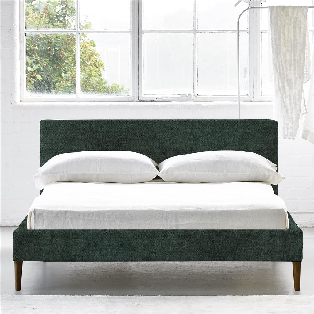 SQUARE BED LOW - SINGLE - WALNUT LEG ZARAGOZA - VIRIDIAN