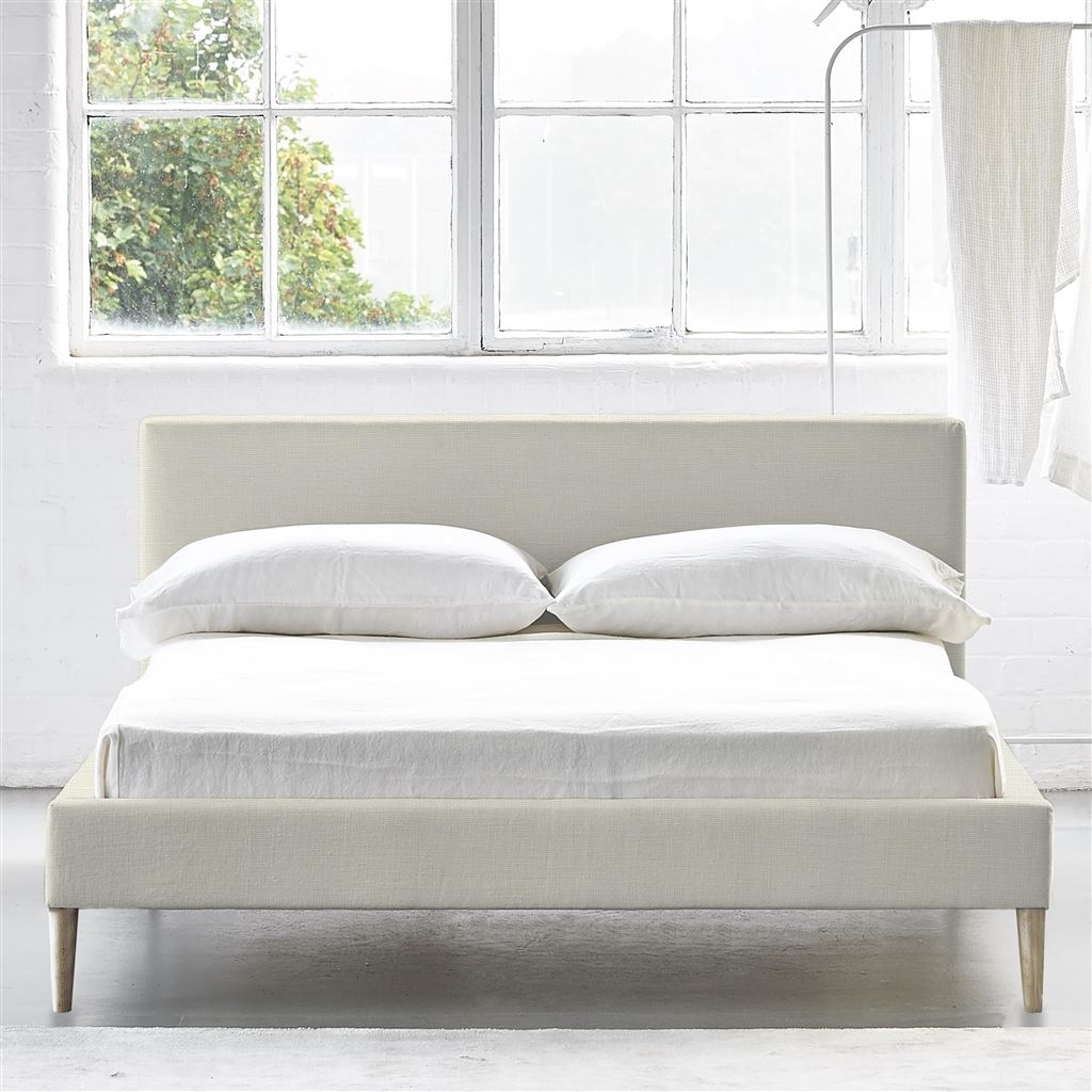 SQUARE BED LOW - DOUBLE - BEECH LEG CONWAY - IVORY