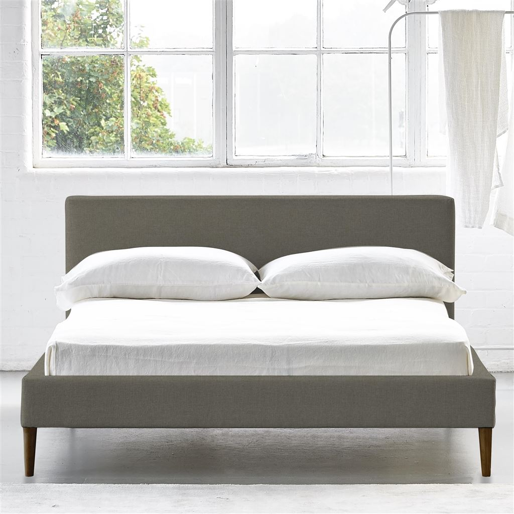 Square Bed Low - King - Walnut Leg Rothesay - Pumice