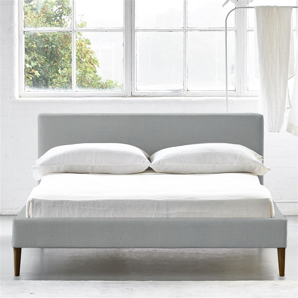 SQUARE BED LOW - DOUBLE - WALNUT LEG CONWAY - PLATINUM