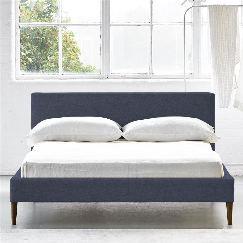 SQUARE BED LOW - DOUBLE - WALNUT LEG ROTHESAY - DENIM