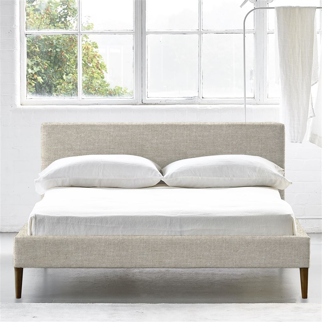 SQUARE BED LOW - SUPER KING - WALNUT LEG CONWAY - LINEN