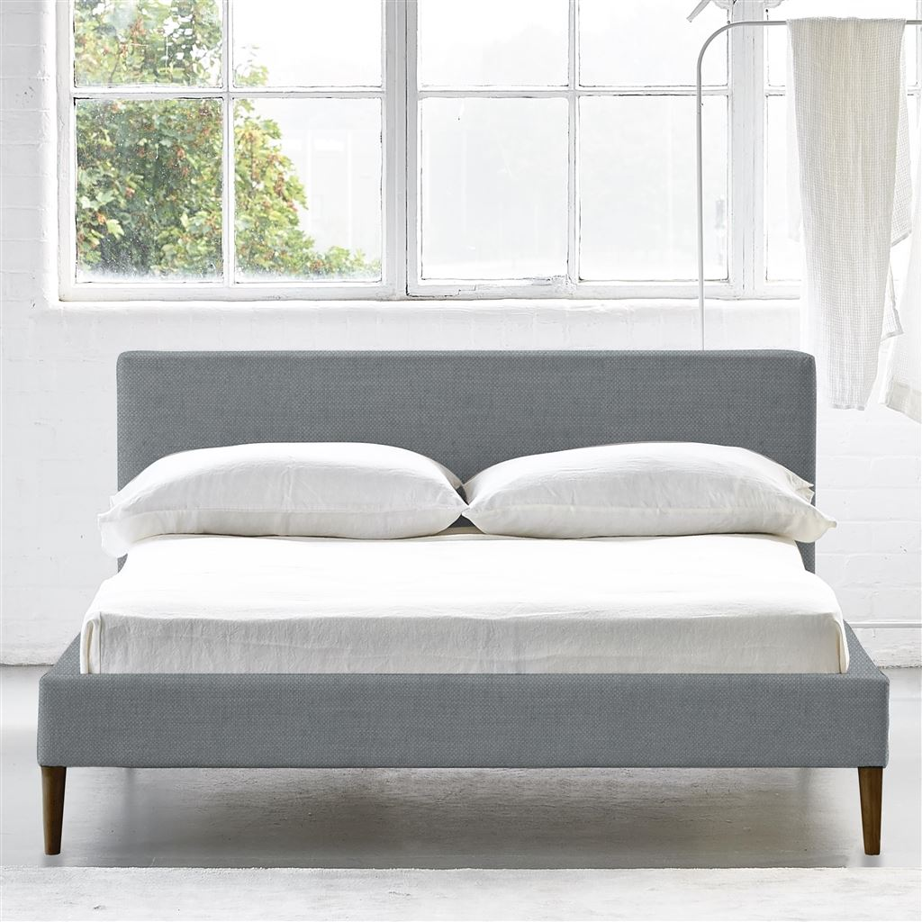 Square Bed Low - Double - Walnut Leg - Elrick Zinc