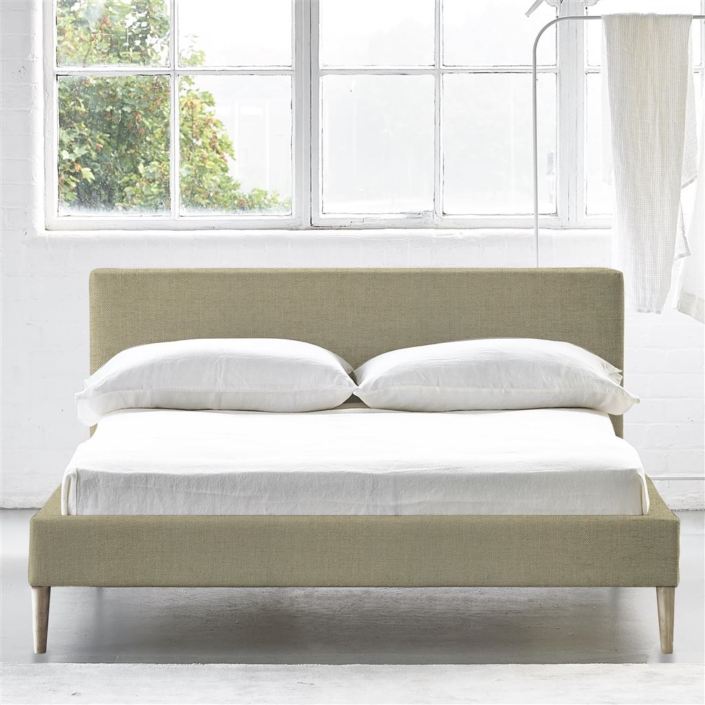 Square Bed Low - Double - Beech Leg - Elrick Hessian