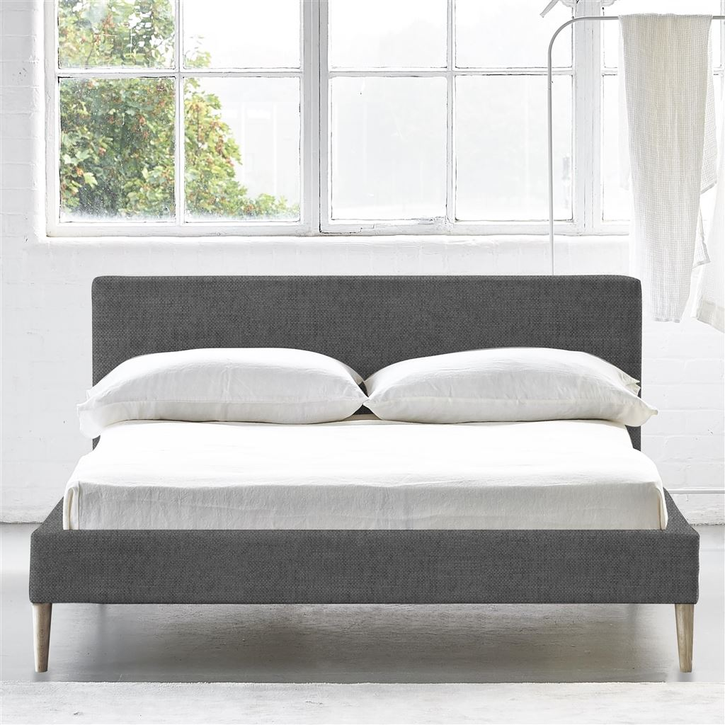 Square Bed Low - Double - Beech Leg - Elrick Steel