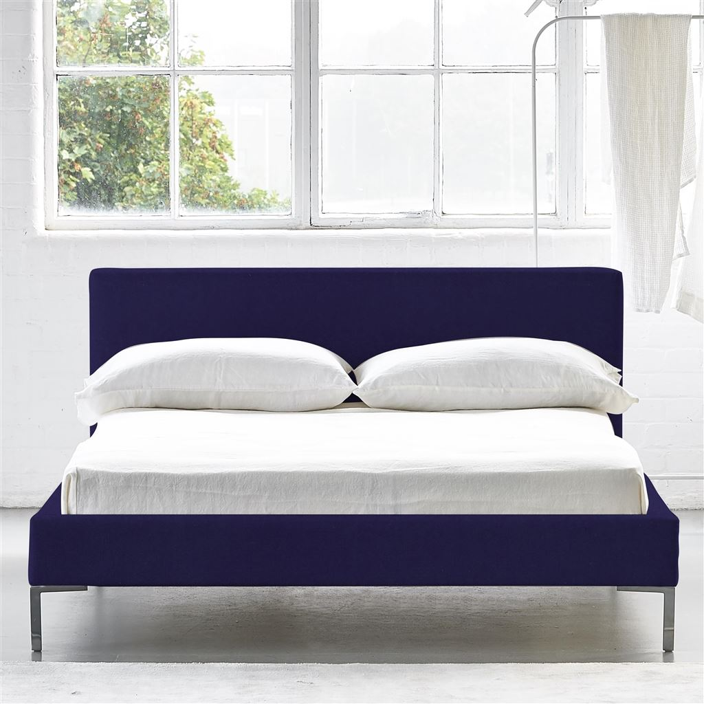 Square Bed Low - Double - Metal Leg - Cassia Dewberry