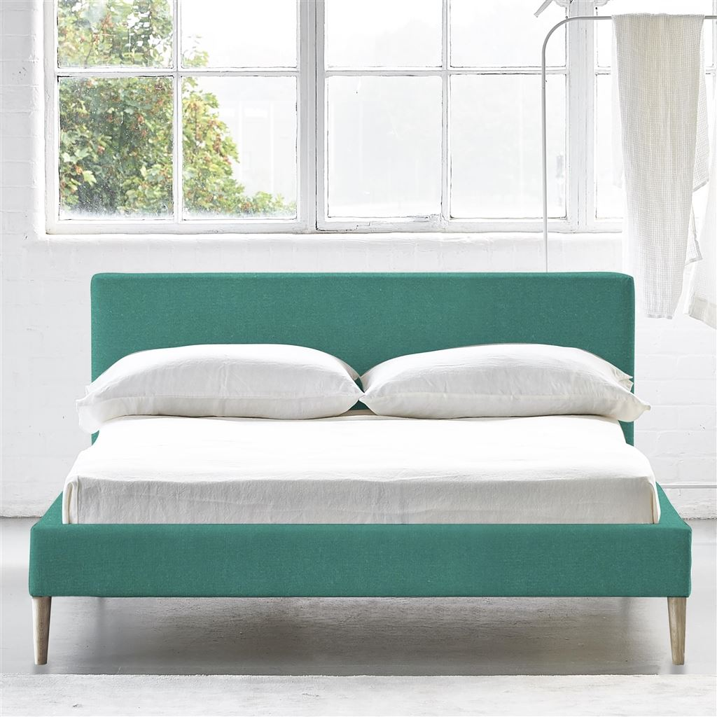 Square Bed Low - Superking - Beech Leg - Cassia Ocean