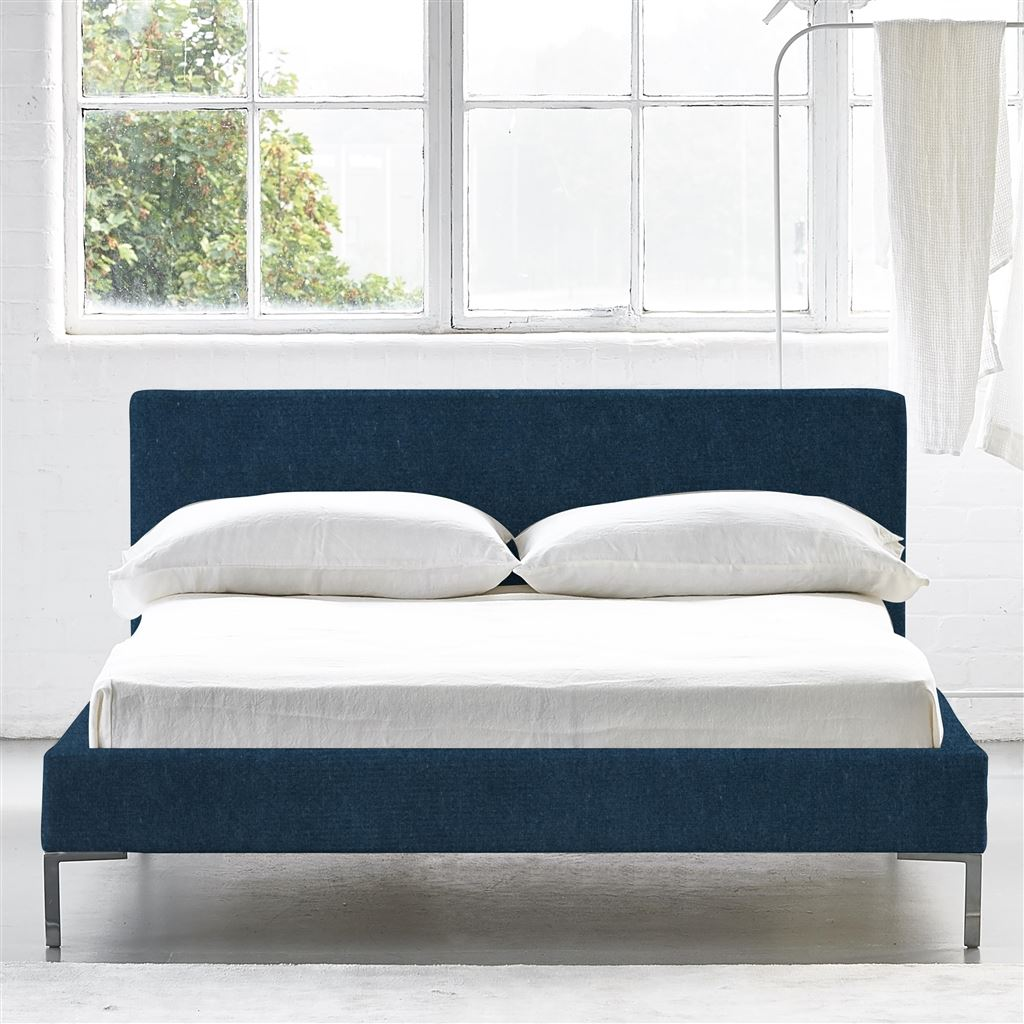 Square Bed Low - Superking - Metal Leg - Cassia Prussian