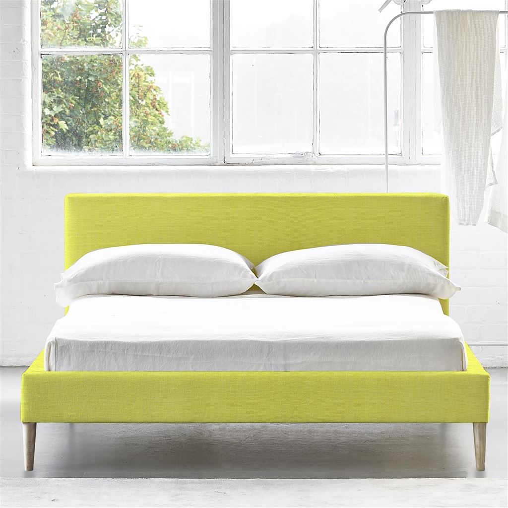 Square Bed Low - Double - Beech Leg - Brera Lino Alchemilla