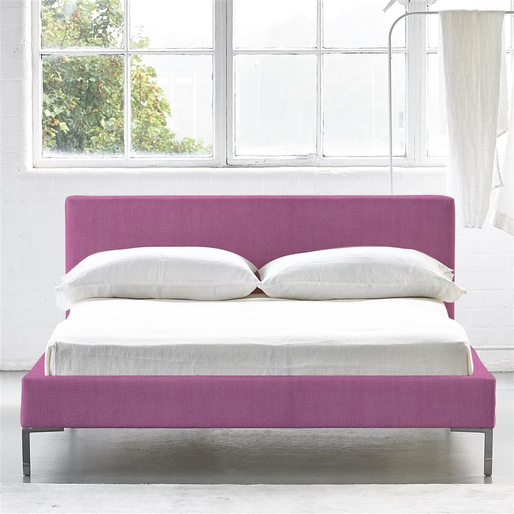 Square Bed Low - Double - Metal Leg - Brera Lino Peony