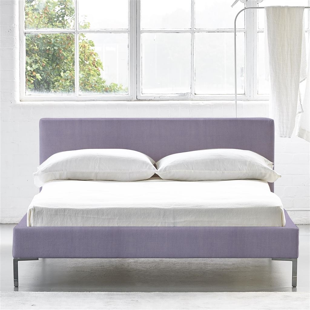 Square Bed Low - Double - Metal Leg - Brera Lino Heather