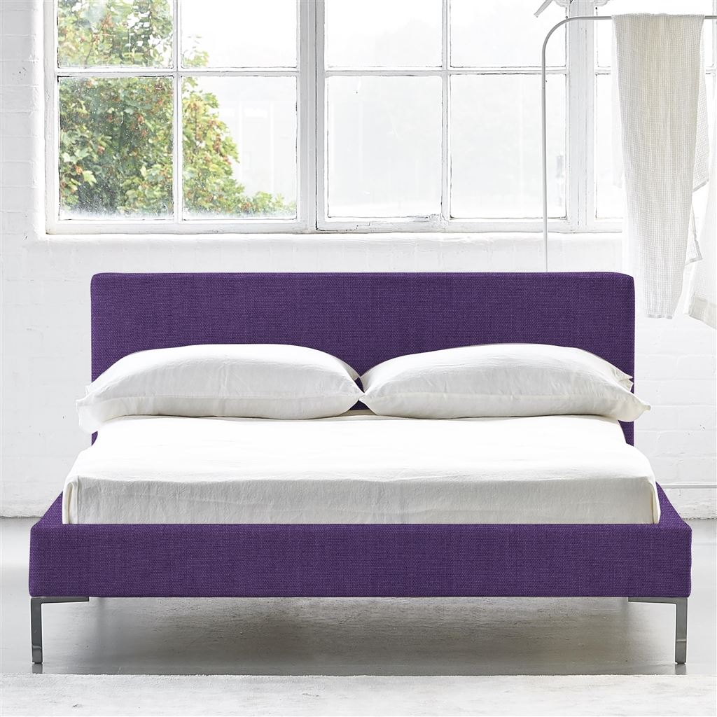 Square Bed Low - Double - Metal Leg - Brera Lino Violet