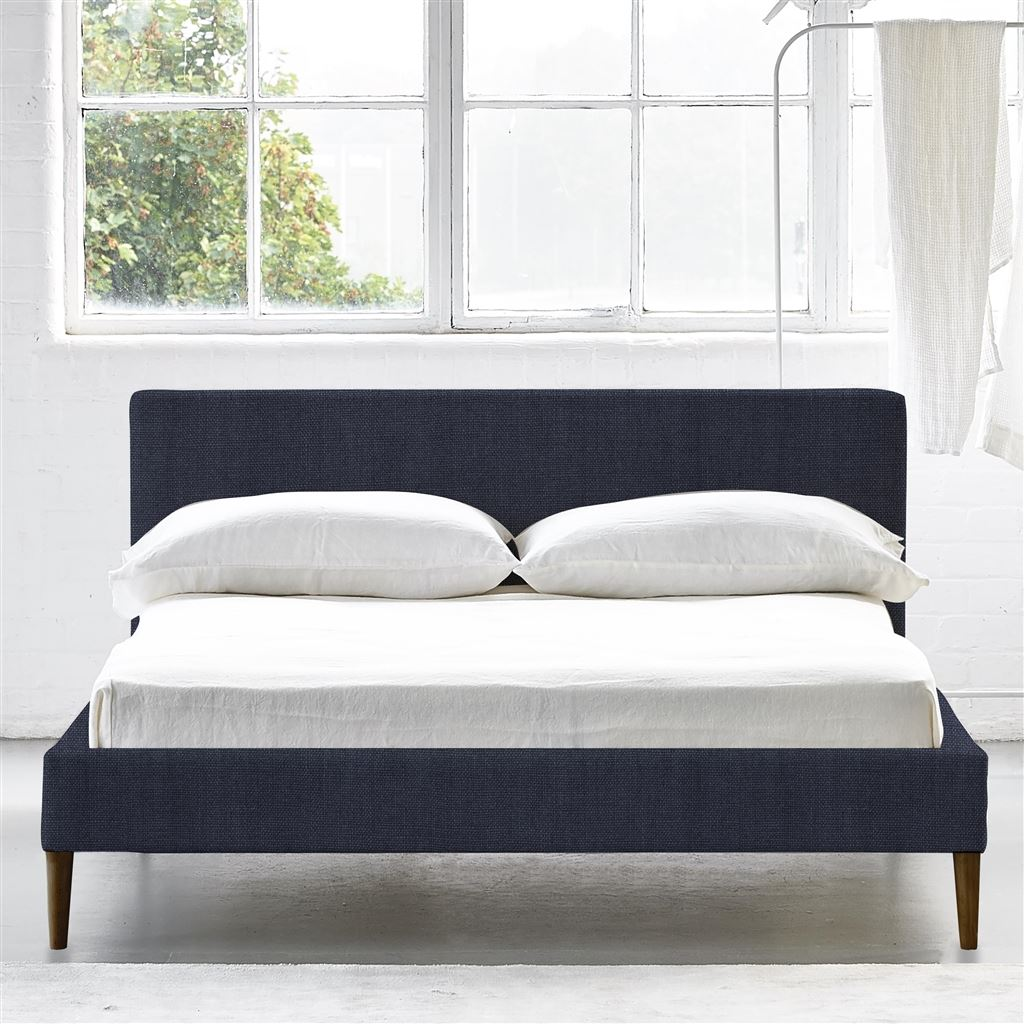 Square Bed Low - Double - Walnut Leg - Brera Lino Indigo