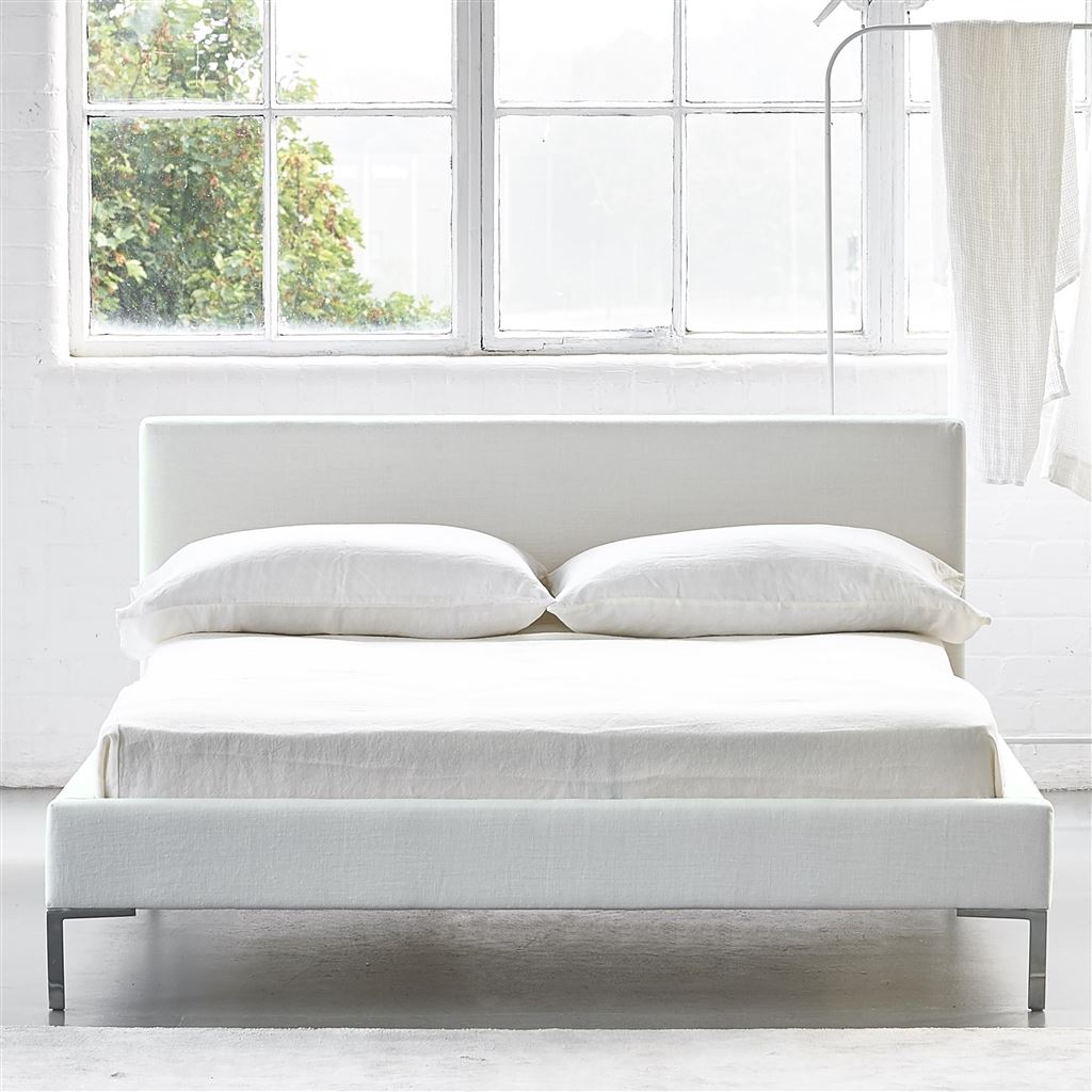 Square Bed Low - Single - Metal Leg - Brera Lino Alabaster