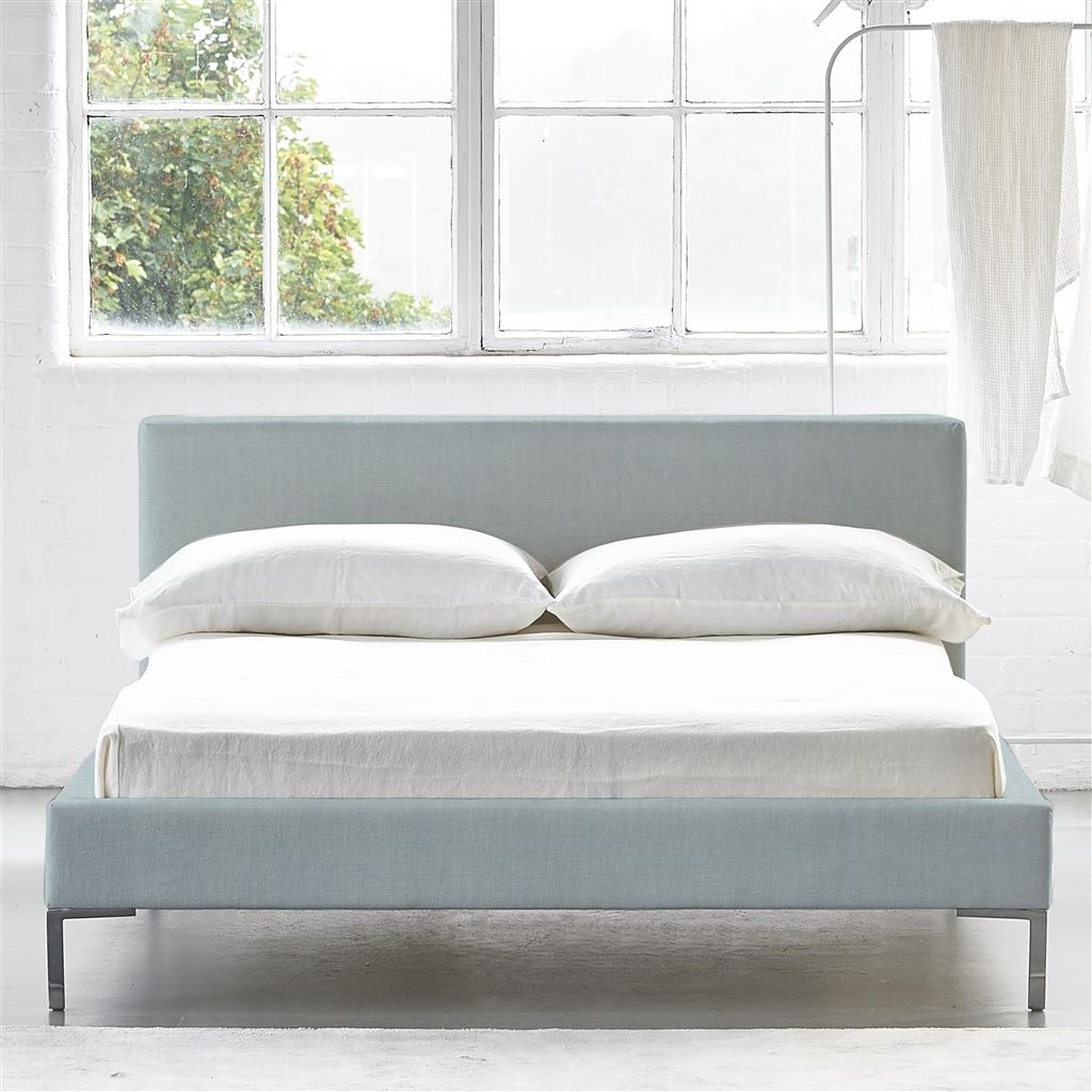 Square Bed Low - Single - Metal Leg - Brera Lino Lapis
