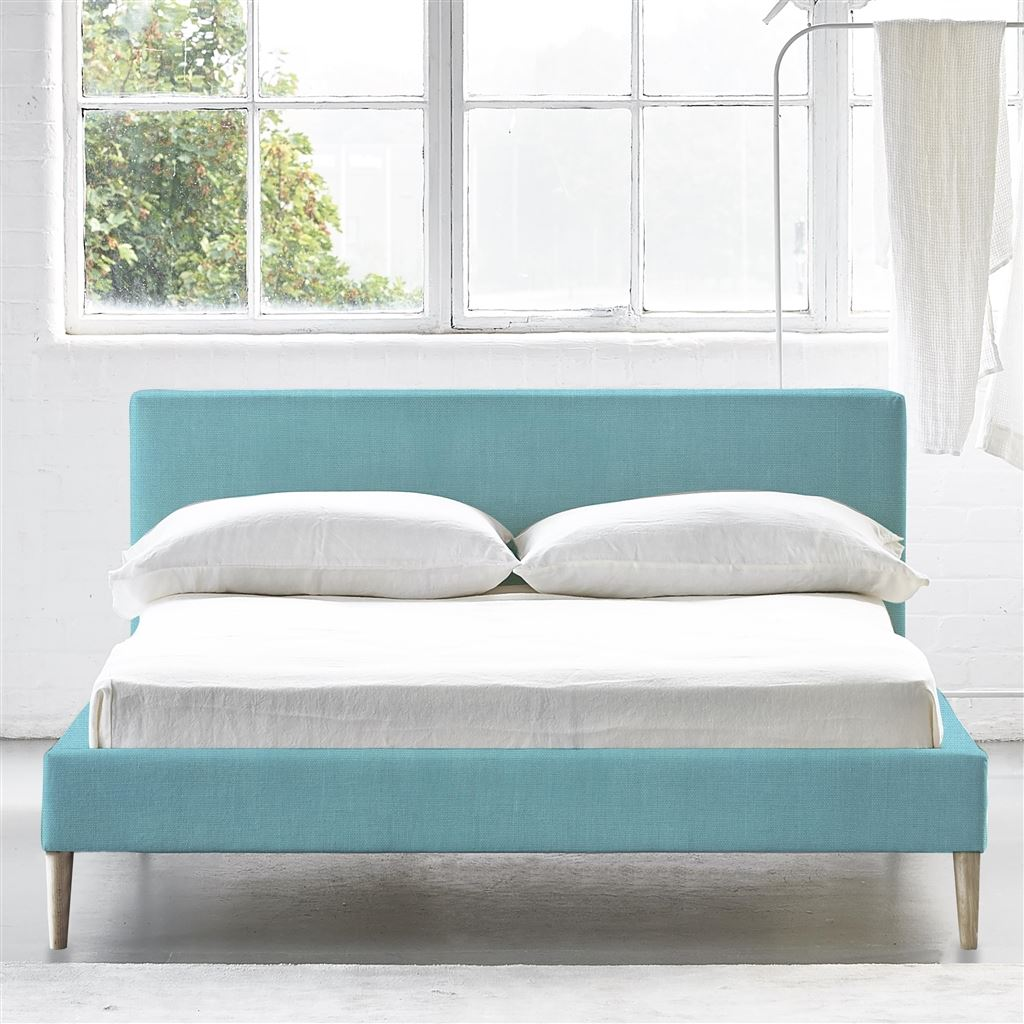 Square Bed Low - Superking - Beech Leg - Brera Lino Turquoise