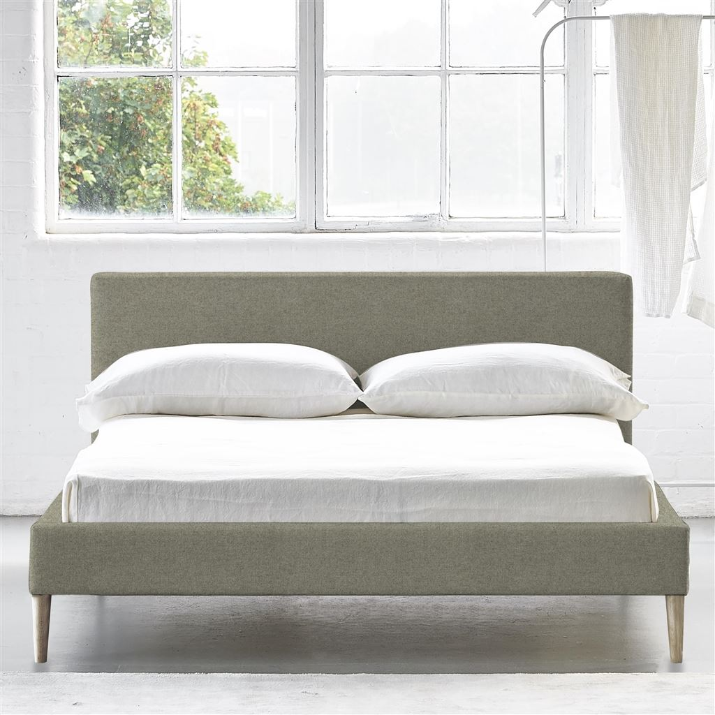 Square Bed Low - Superking - Beech Leg - Cheviot Pebble