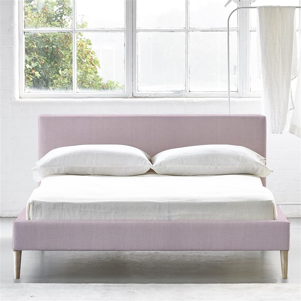 Square Bed Low - Superking - Beech Leg - Brera Lino Pale Rose