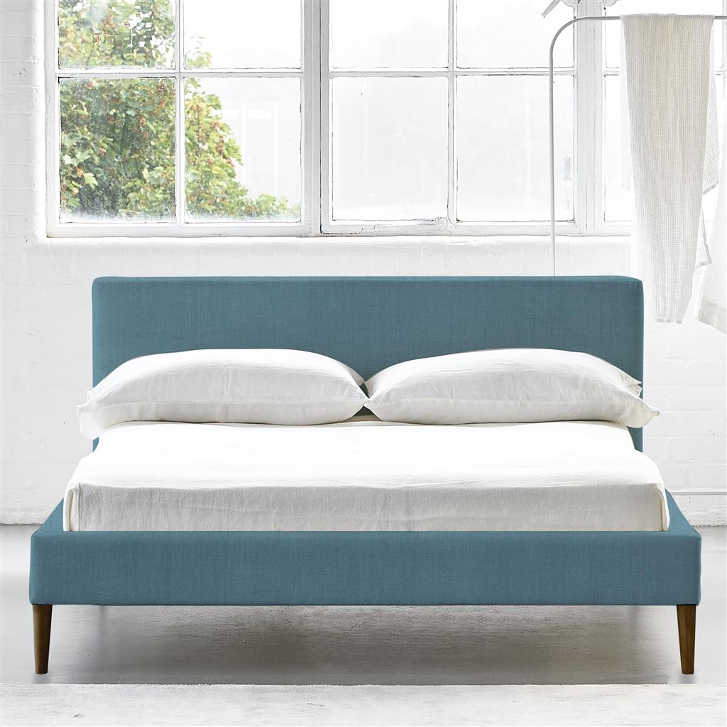 Square Bed Low - Superking - Walnut Leg - Brera Lino Ocean