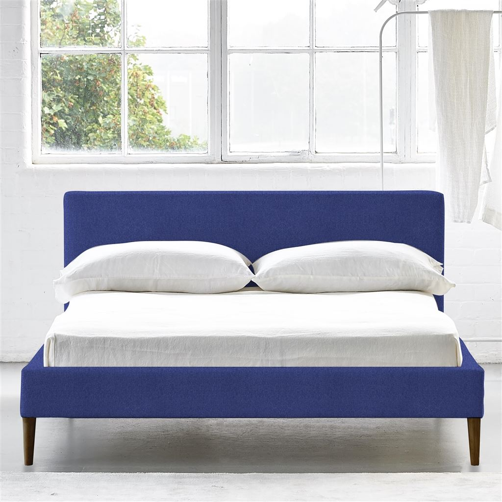 Square Bed Low - King - Walnut Leg - Cheviot Cobalt