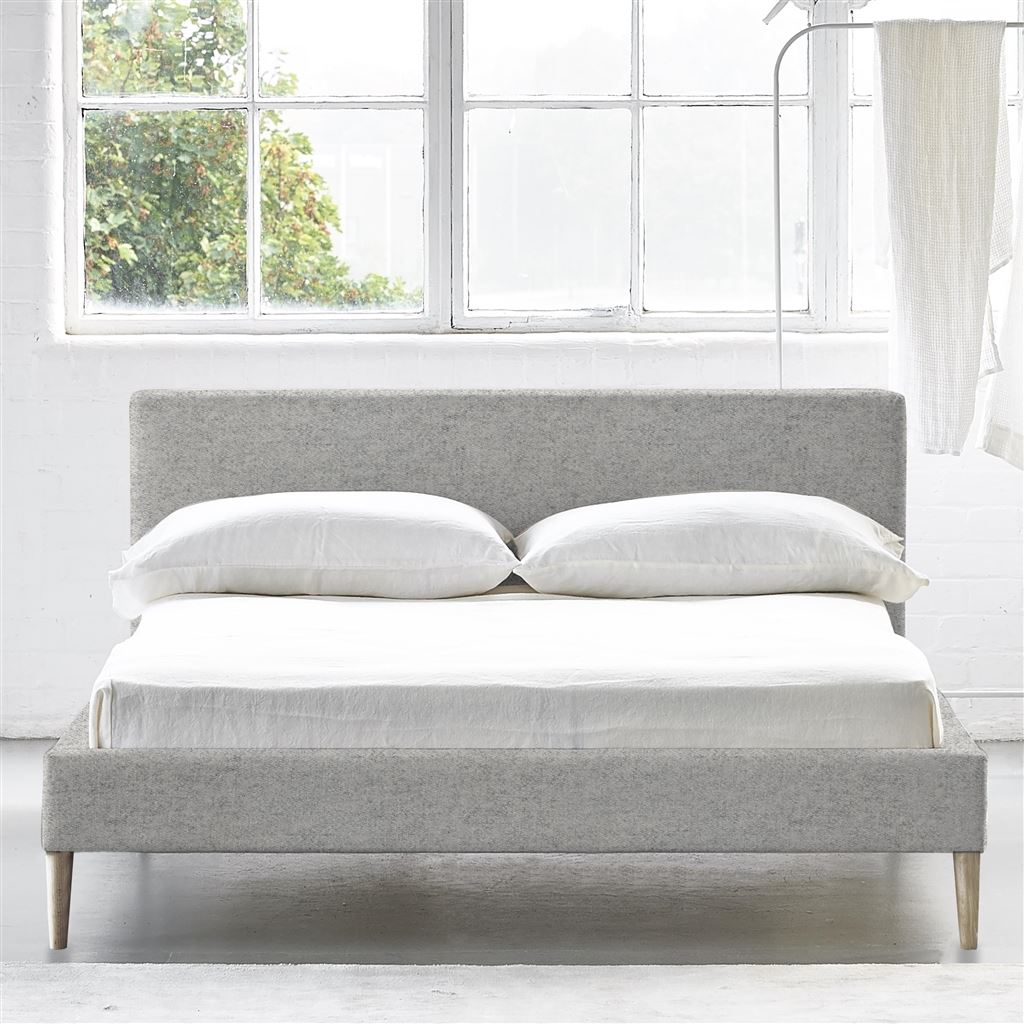 Square Bed Low - Superking - Beech Leg - Cheviot Stone