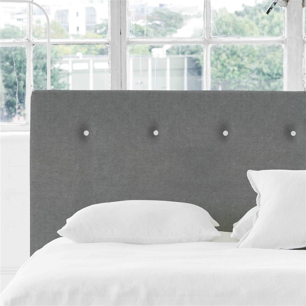 Polka Super King Headboard - White Buttons Zaragoza - Zinc