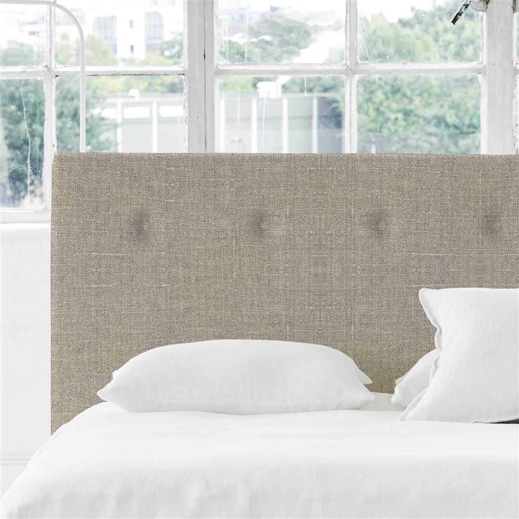 Polka Super King Headboard - Self Buttons Conway - Natural