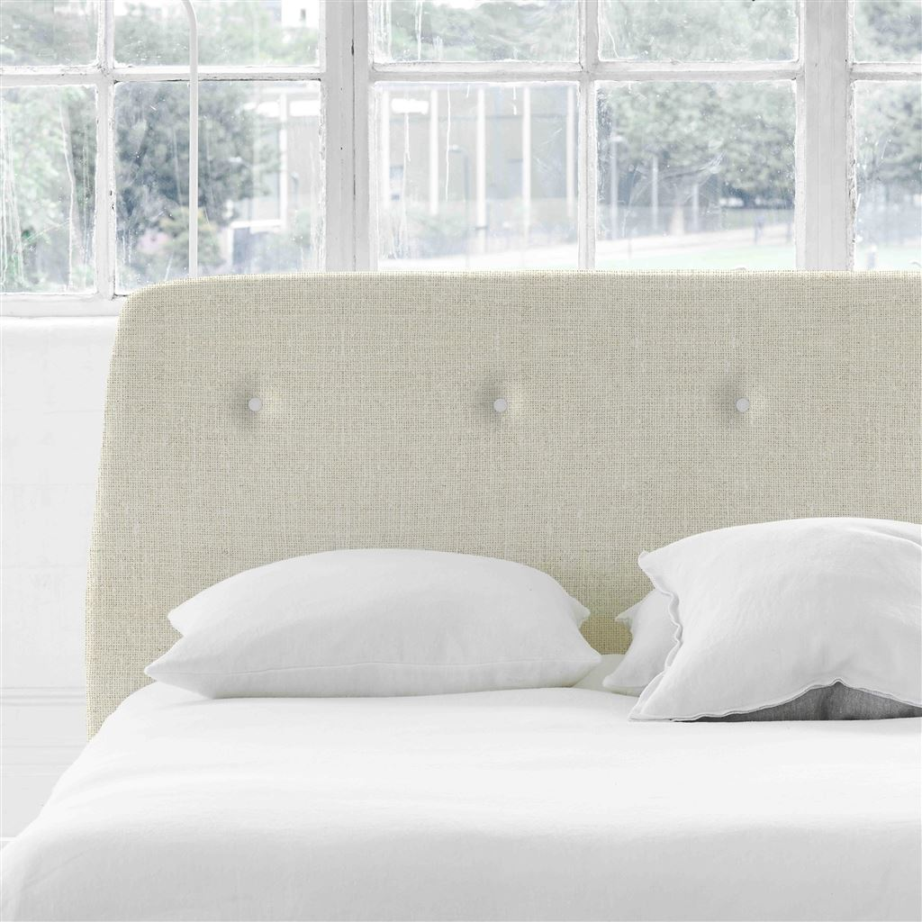 Cosmo King Headboard - White Buttons - Conway - Ecru
