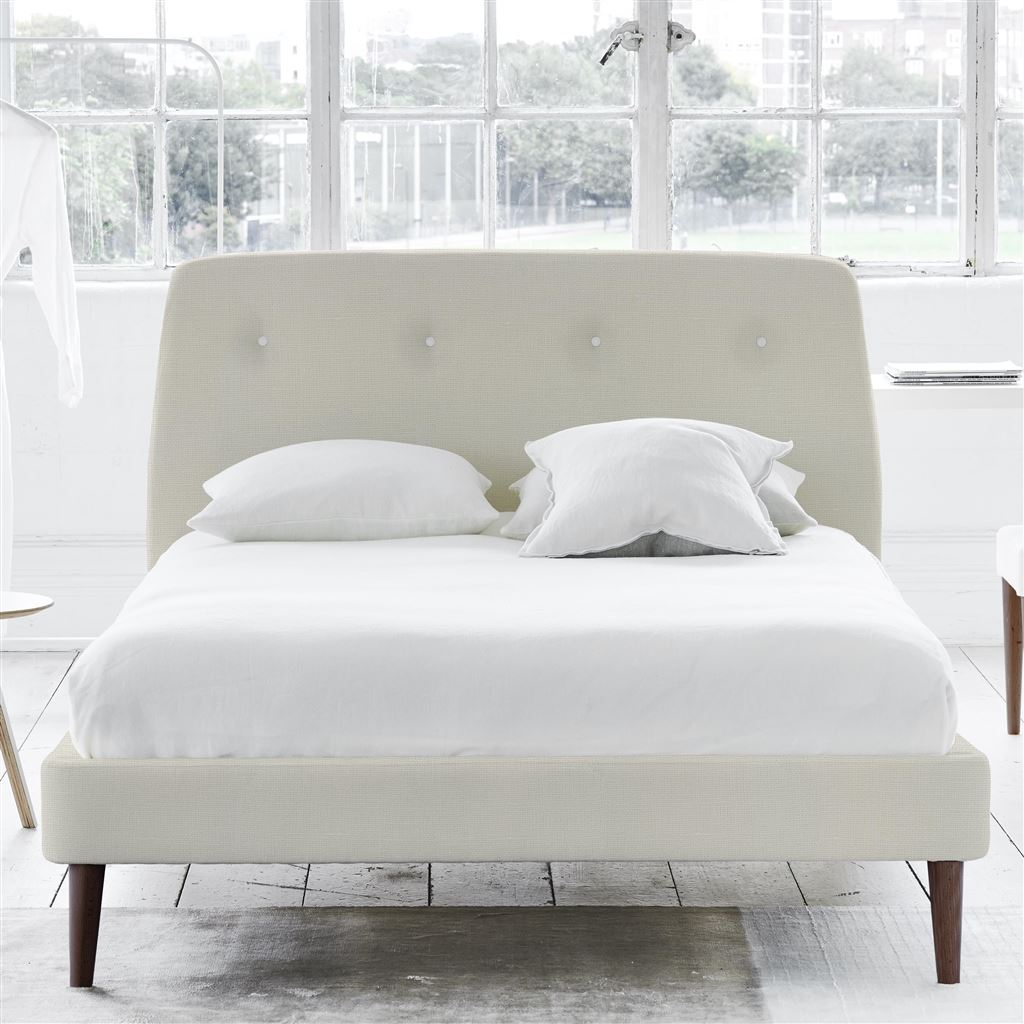 COSMO BED WHITE BUTTON - SUPER KING - WALNUT LEG CONWAY - IVORY