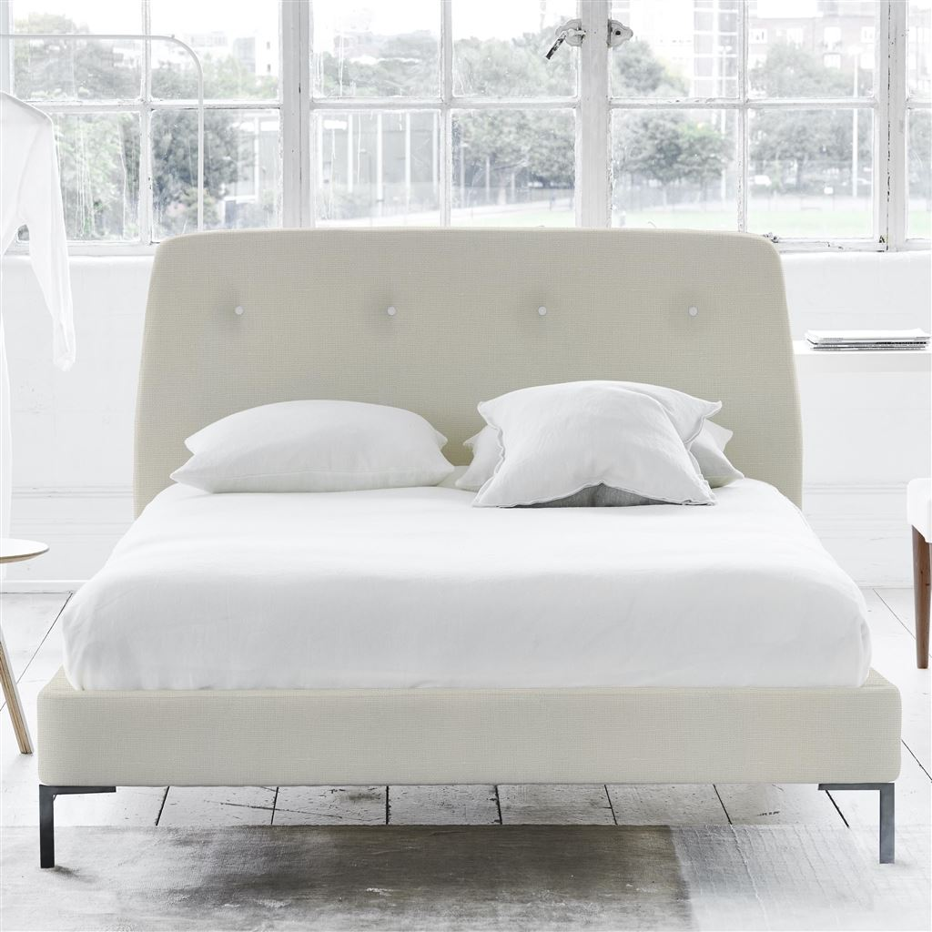 Cosmo Bed White Button - Double - Metal Leg Conway - Ivory