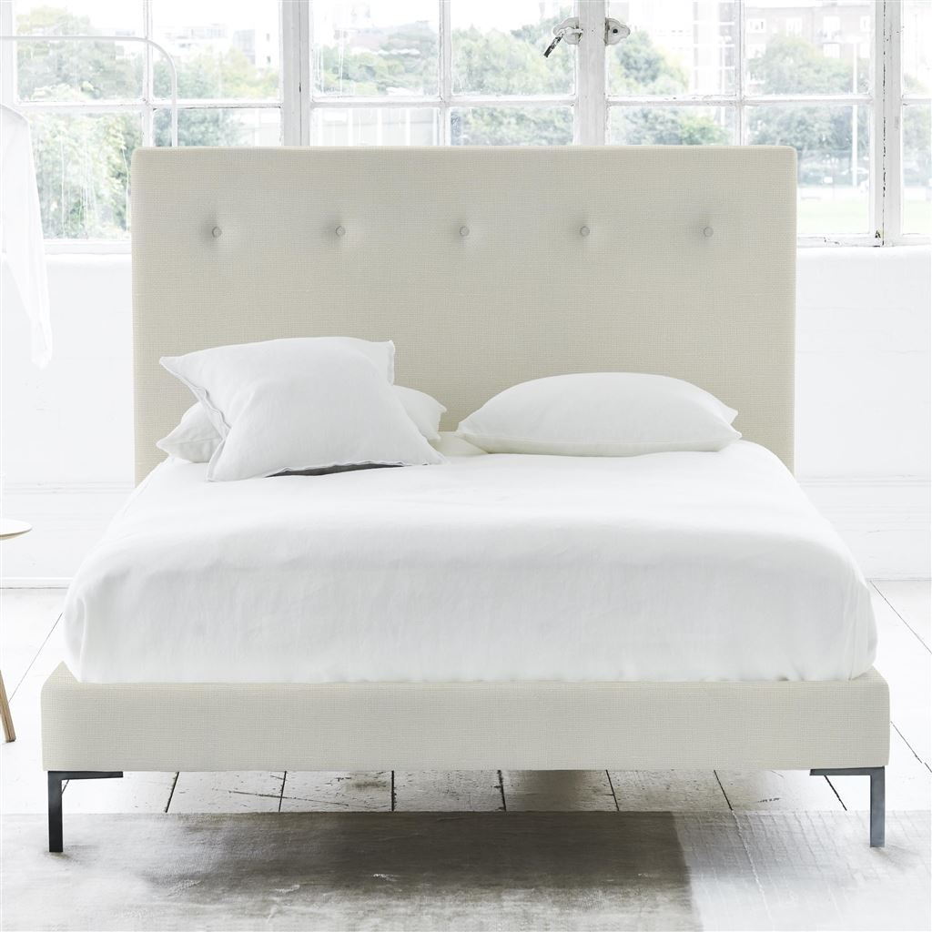 Polka Bed Self Button - Double - Metal Leg Conway - Ivory