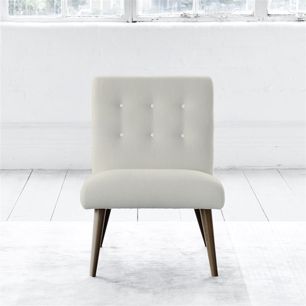 Eva Chair - Walnut Leg - White Buttons - Conway - Ivory