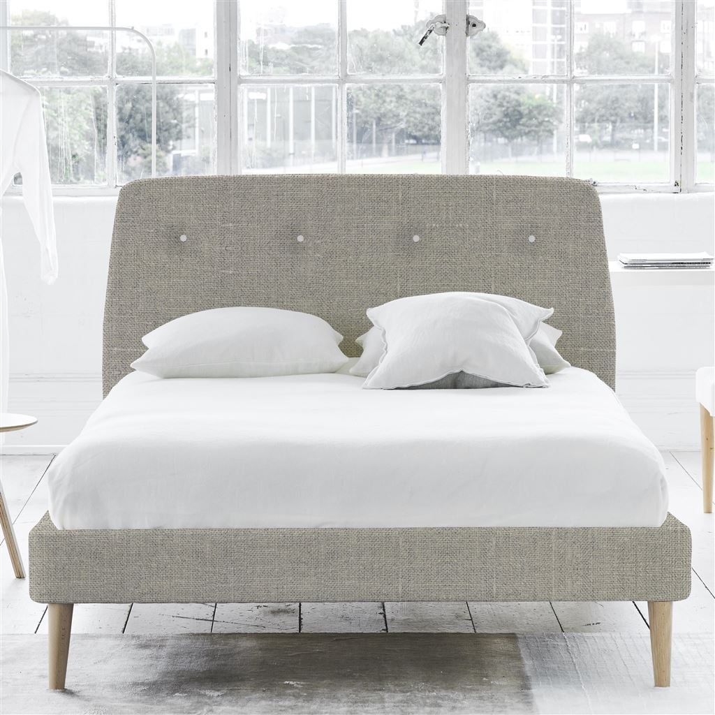 Cosmo Bed White Button - King - Beech Leg Conway - Natural