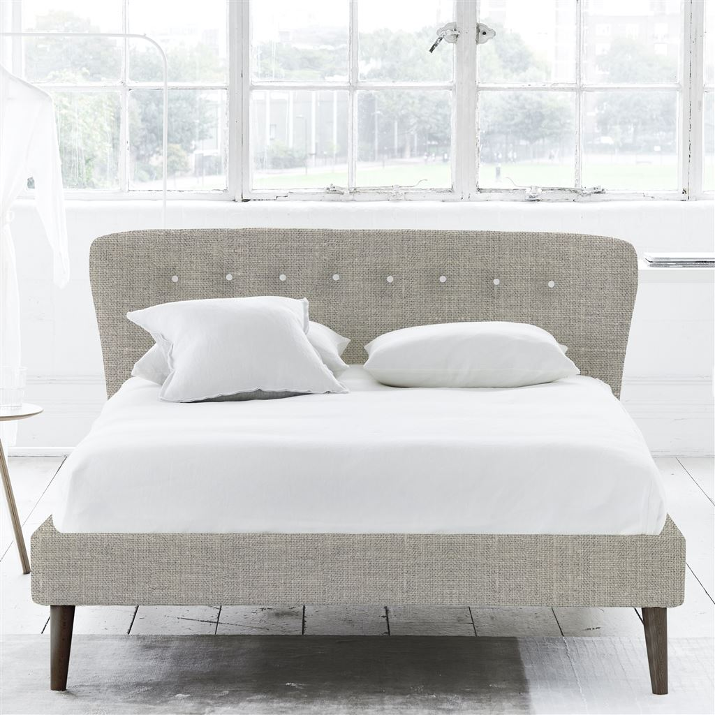 Wave Bed White Button - Super King - Walnut Leg Conway - Natural