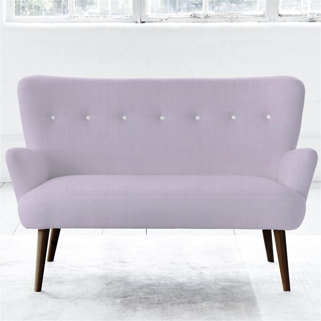 Florence Sofa - White Button - Walnut Leg - Conway - Orchid