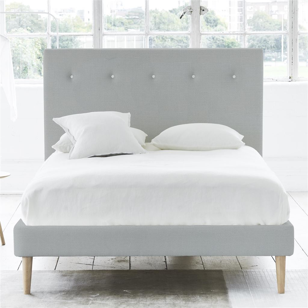 Polka Bed White Button - King - Beech Leg Conway - Platinum