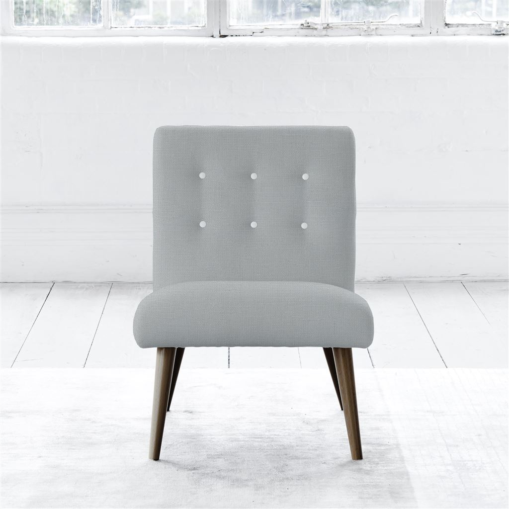 Eva Chair - Walnut Leg - White Buttons - Conway - Platinum
