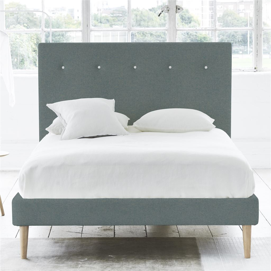 Polka Bed White Button - King - Beech Leg Rothesay - Aqua