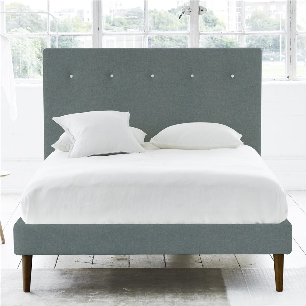Polka Bed White Button - Super King - Walnut Leg Rothesay - Aqua