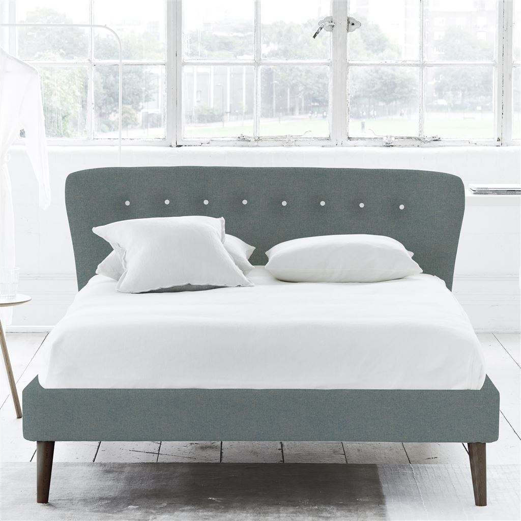 WAVE BED WHITE BUTTON - SUPER KING - BEECH LEG ROTHESAY - AQUA