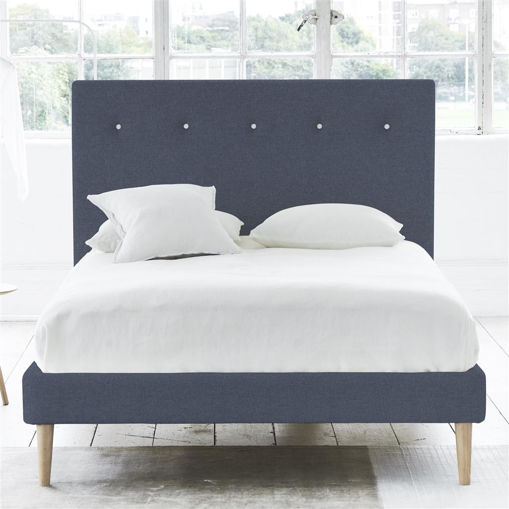 POLKA BED WHITE BUTTON - KING - BEECH LEG ROTHESAY - DENIM