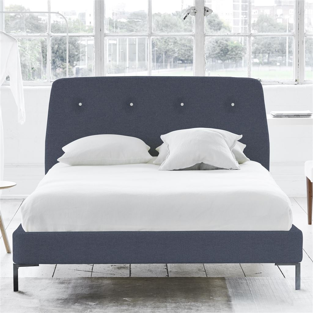 COSMO BED WHITE BUTTON - SINGLE - METAL LEG ROTHESAY - DENIM