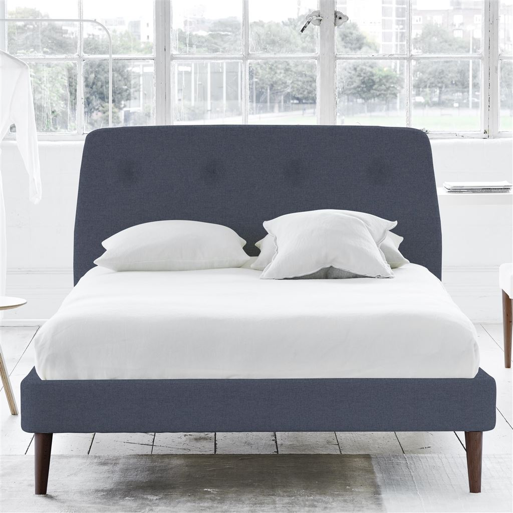 Cosmo Bed Self Button - King - Walnut Leg Rothesay - Denim