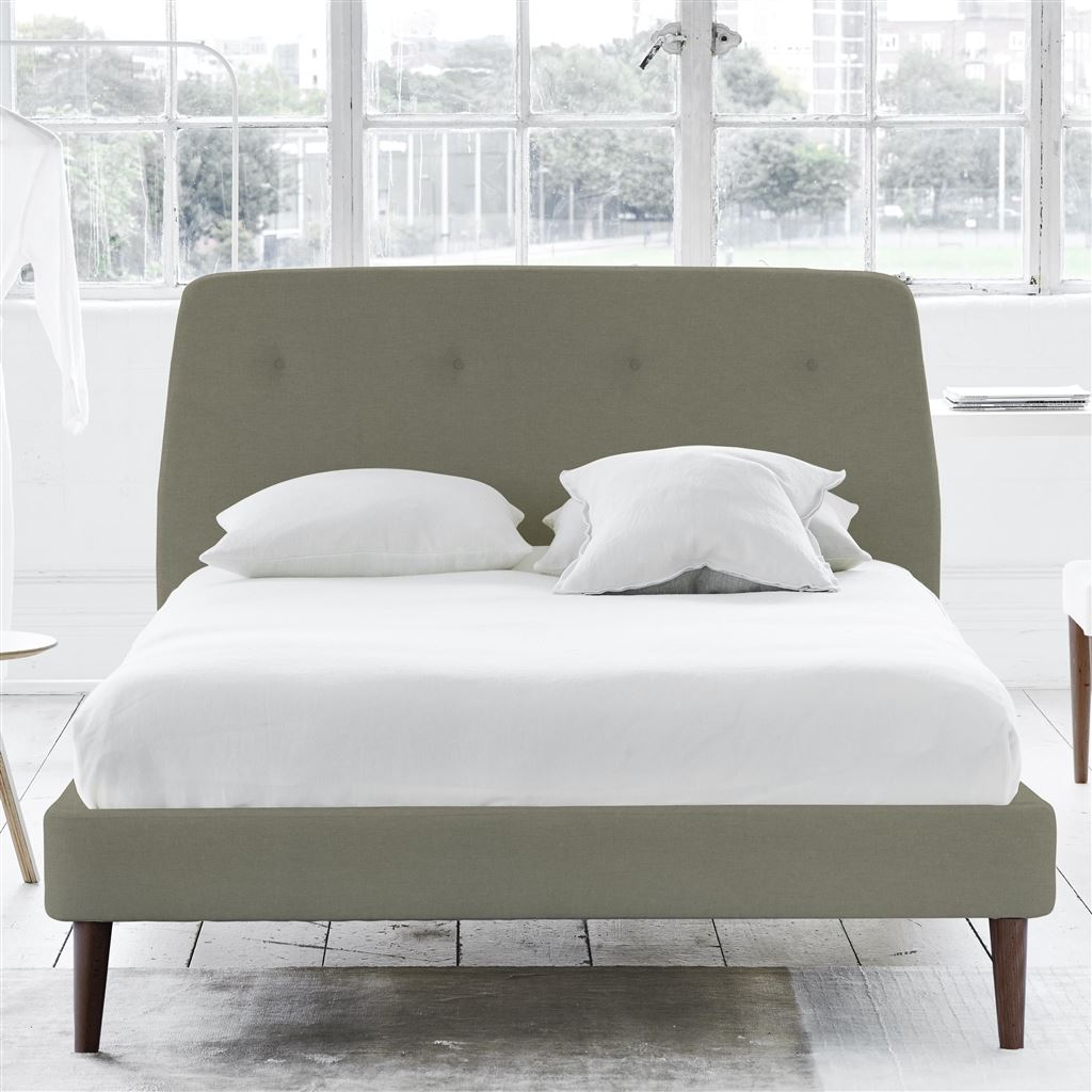 Cosmo Bed Self Button - Super King - Walnut Leg Rothesay - Linen
