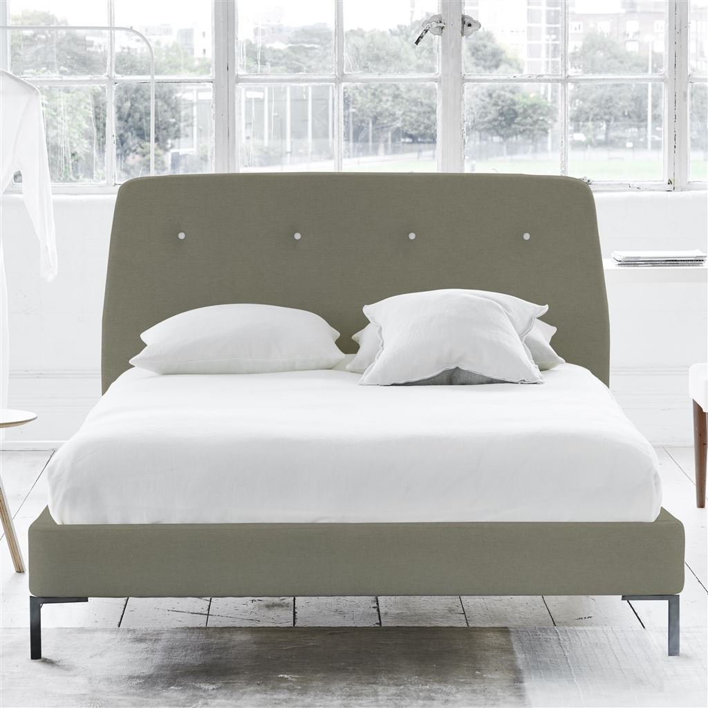 Cosmo Bed White Button - Super King - Metal Leg Rothesay - Linen