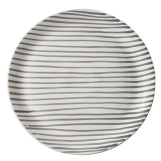 Grey Striped Dinner Plate